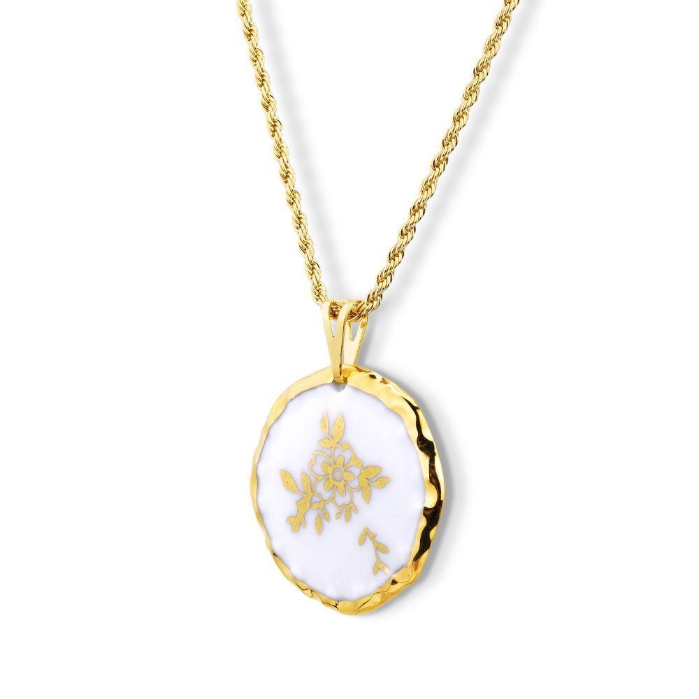 Pingente Medalha Flor e Folhas Dourada Pintada à Mão com Ouro 18k