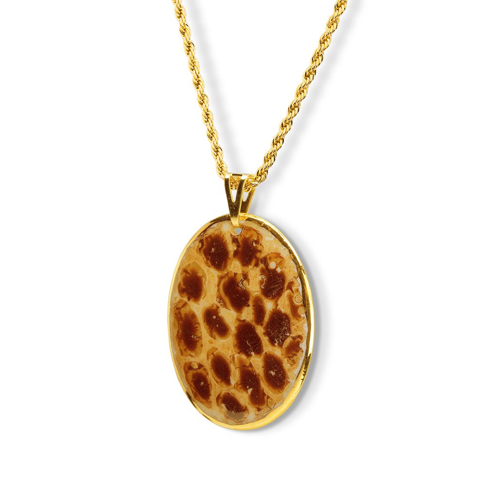 Pingente Medalha Jaguar Pintada à Mão com Ouro 18k