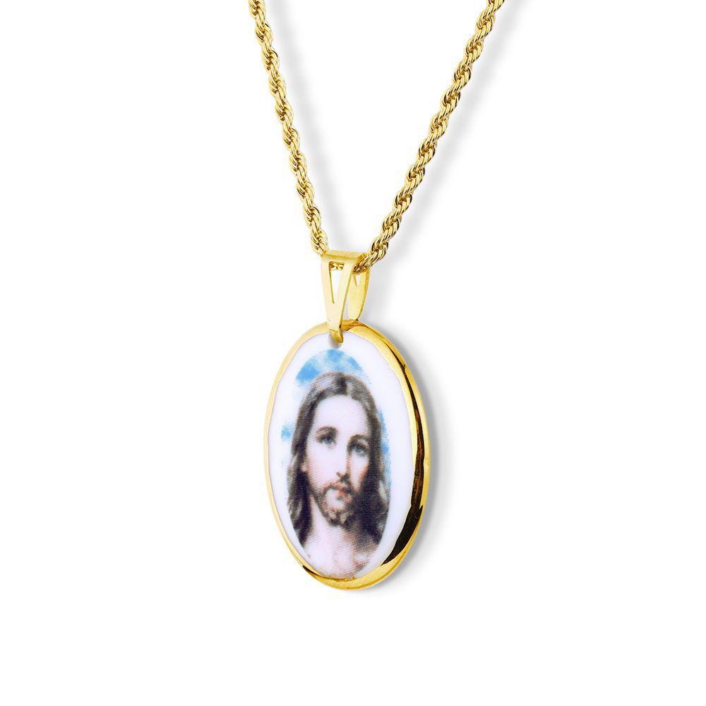 Pingente Medalha Jesus Cristo Ouro pequena