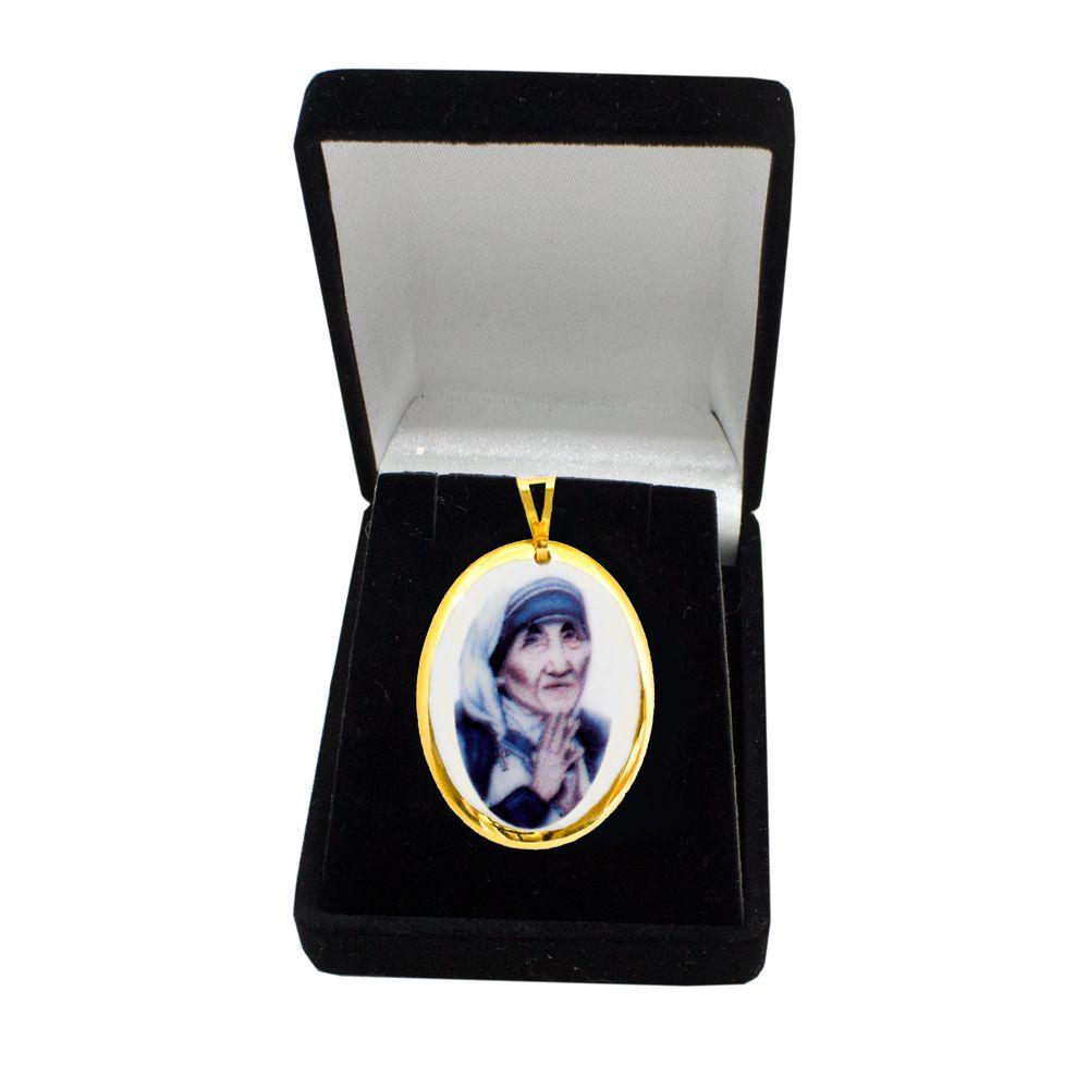 Pingente Medalha  Madre Teresa Calcutá Ouro Pequena