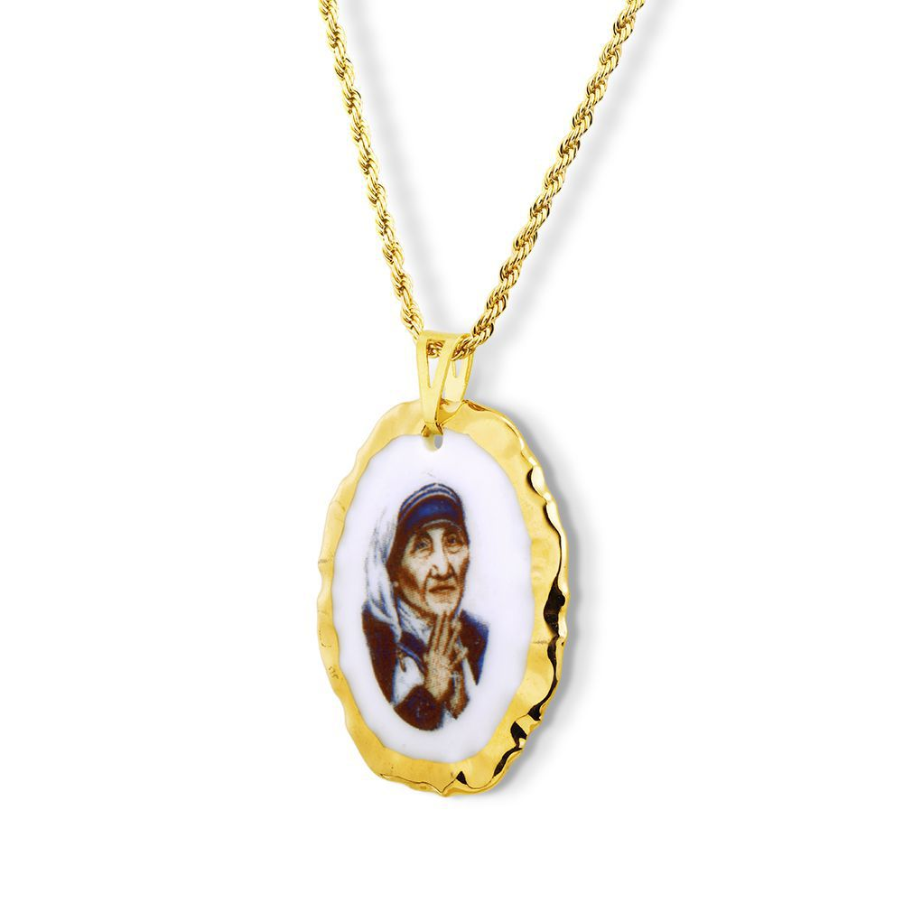 Pingente Medalha Madre Teresa De Calcutá Ouro