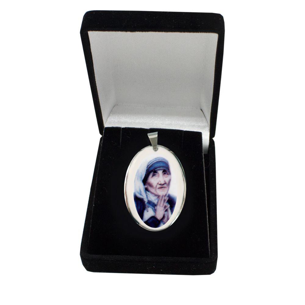 Pingente Medalha Madre Tereza Calcutá Ouro Branco Pequena