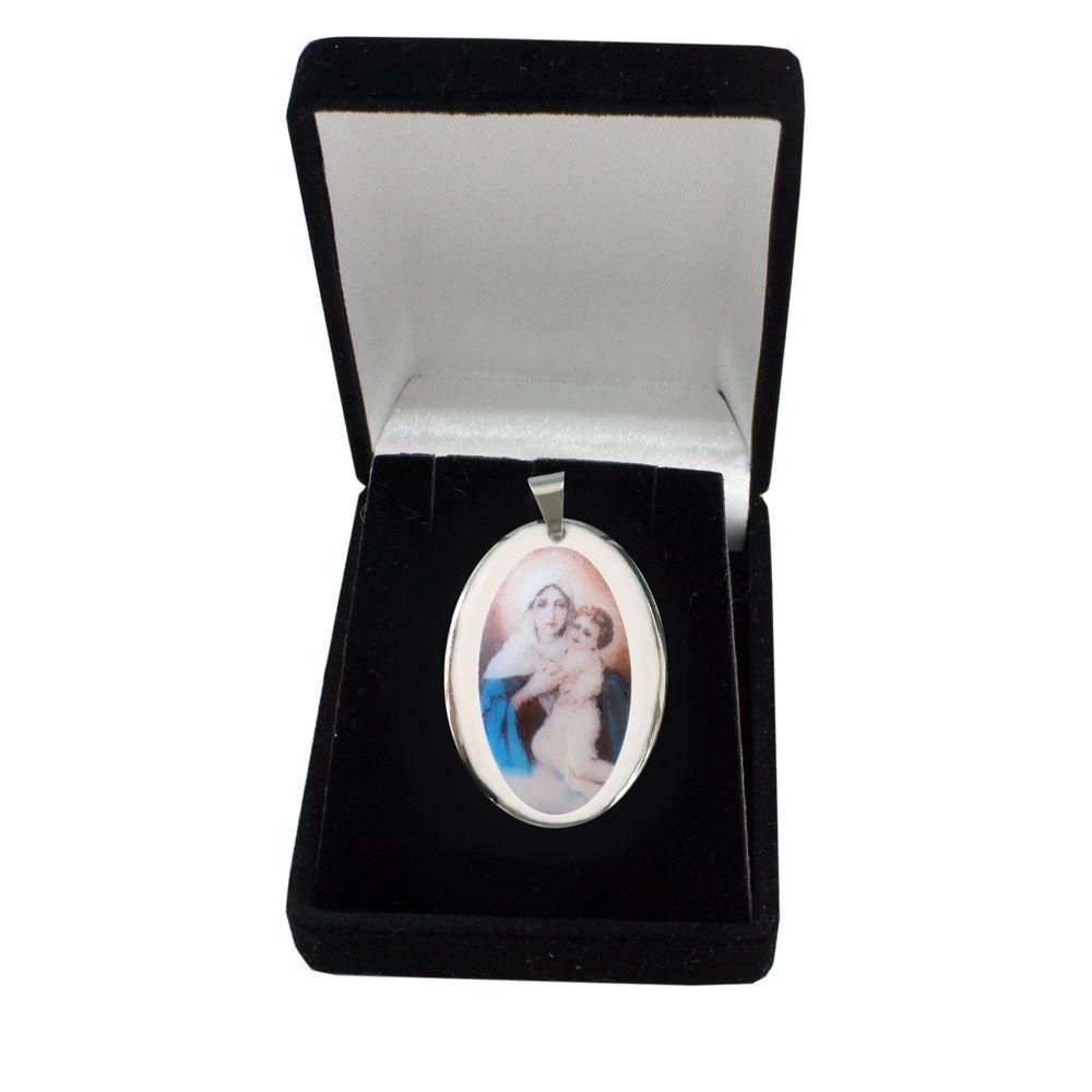 Pingente Medalha Mãe Rainha Nossa Senhora Schoenstatt Ouro Branco Pequena
