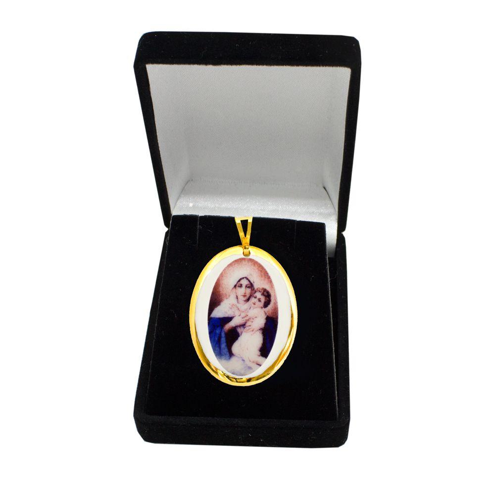Pingente Medalha Mãe Rainha Nossa Senhora Schoenstatt  Ouro Pequena
