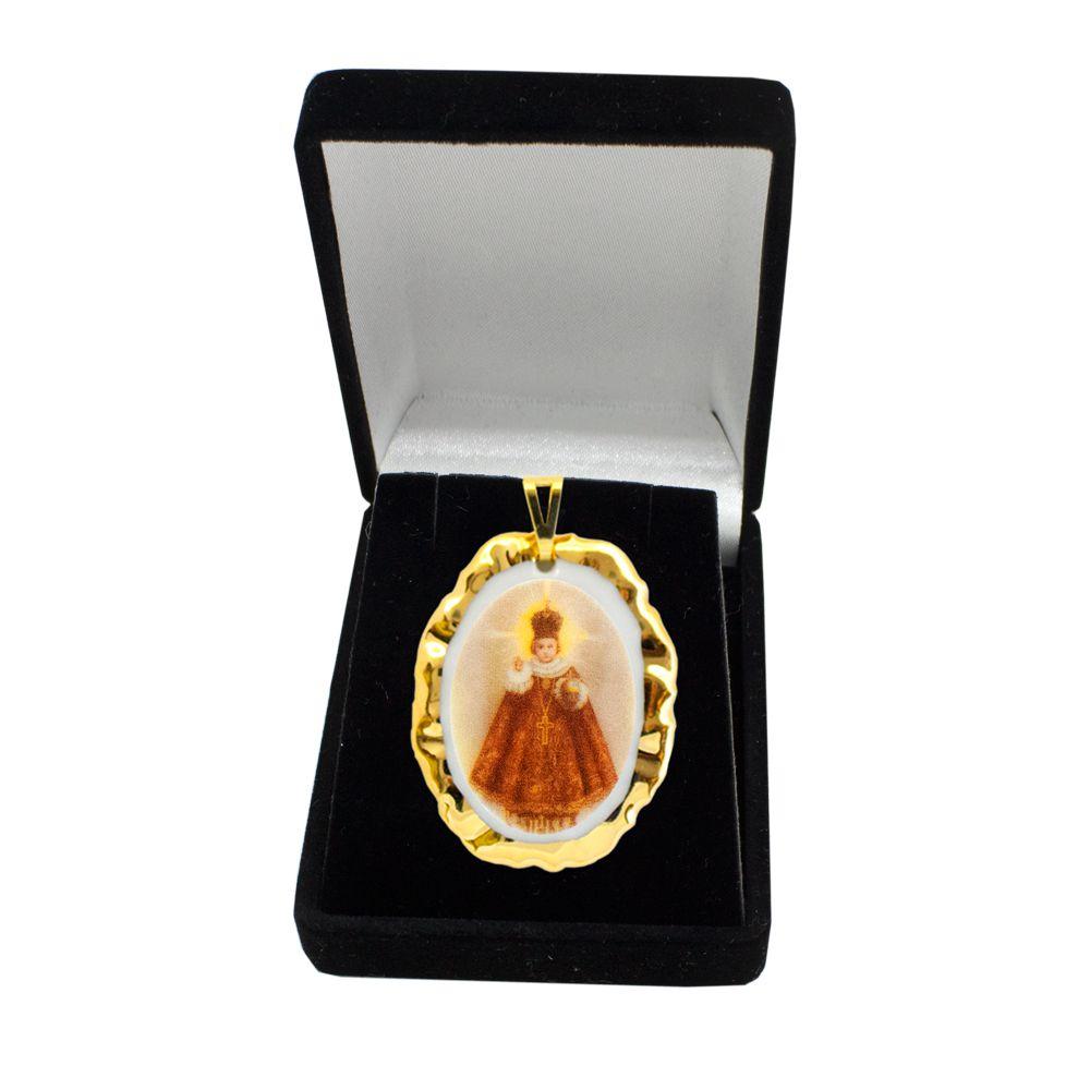 Pingente Medalha Menino Jesus De Praga Ouro