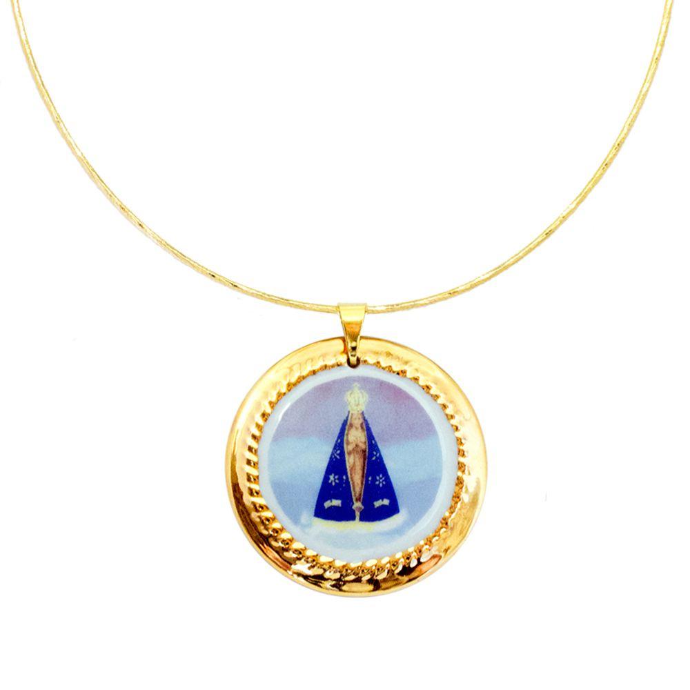 f28d8bb1d8edc Pingente Medalha Nossa Senhora Aparecida Ouro E Gargantilha banhada ouro 18k