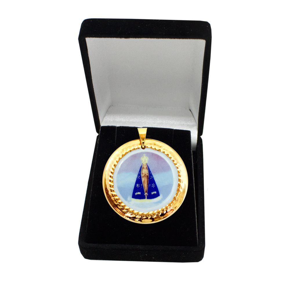 a1b1f0245541b Pingente Medalha Nossa Senhora Aparecida Ouro Especial
