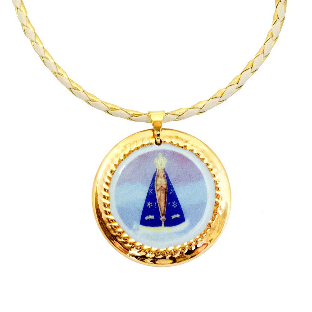 Pingente Medalha Nossa Senhora Aparecida Ouro Grande E Corrente Couro 7519b796ab