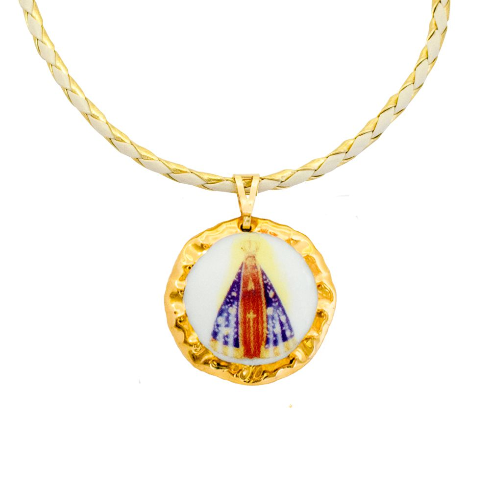 Pingente Medalha Nossa Senhora Aparecida Ouro Pequena E Corrente Couro 869bd4c44c