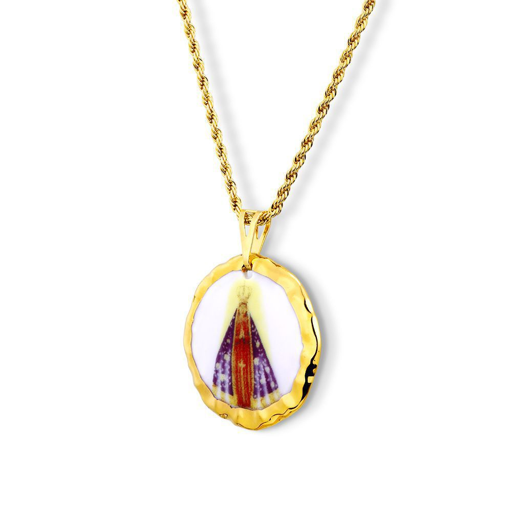 Pingente Medalha Nossa Senhora Aparecida Ouro redonda
