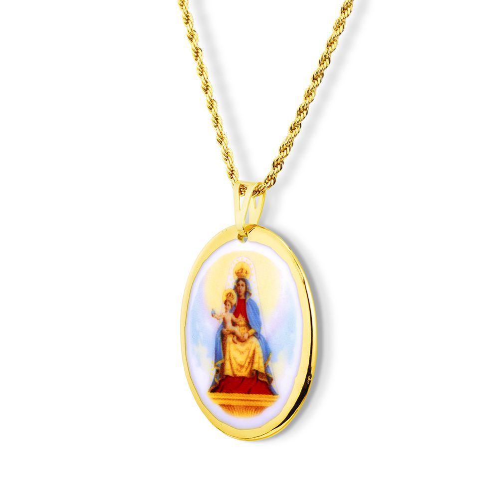 Pingente Medalha Nossa Senhora Candeias Ouro