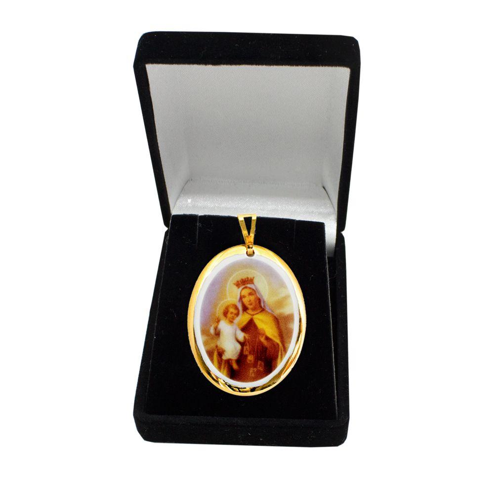 Pingente Medalha Nossa Senhora Carmo Ouro