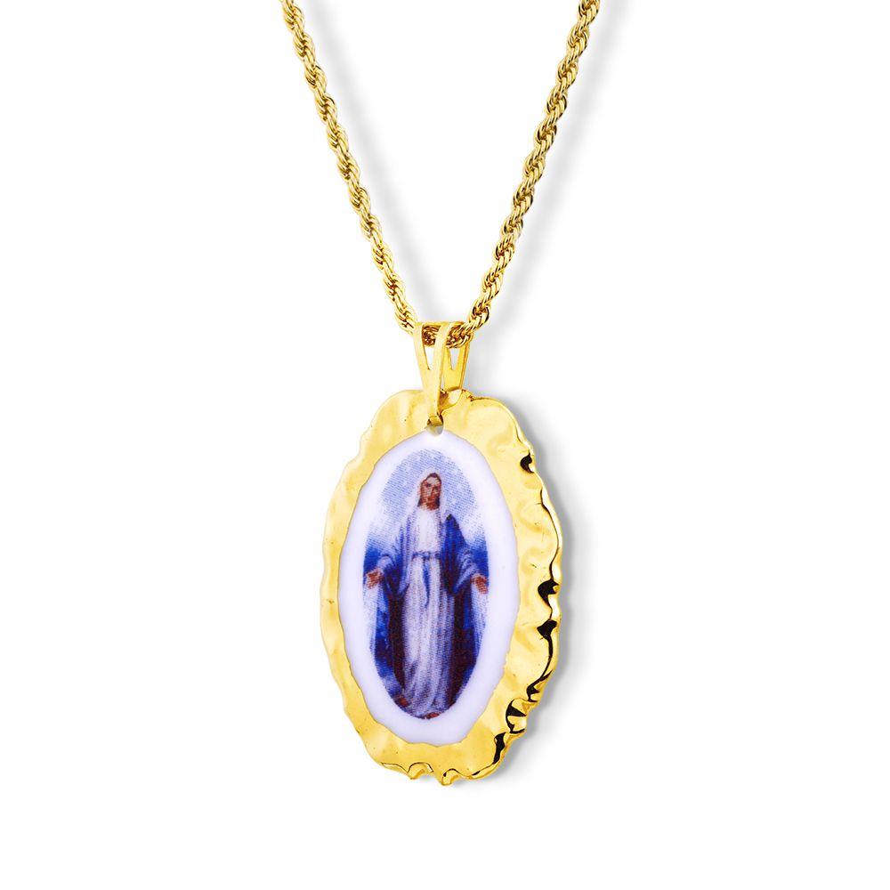 Pingente Medalha Nossa Senhora Das Graças Ouro imagem Azul