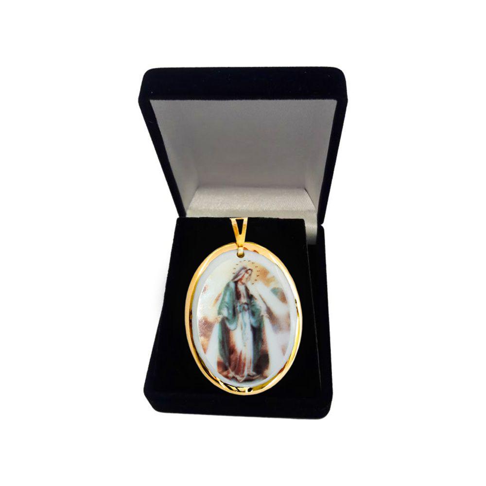 Pingente Medalha Nossa Senhora Das Graças Ouro imagem Verde