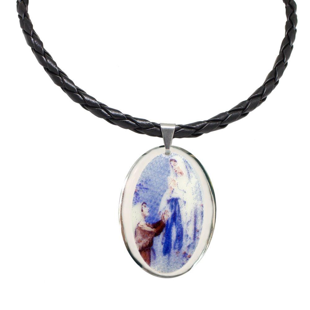 Pingente Medalha Nossa Senhora De Lourdes Ouro Branco Pequena