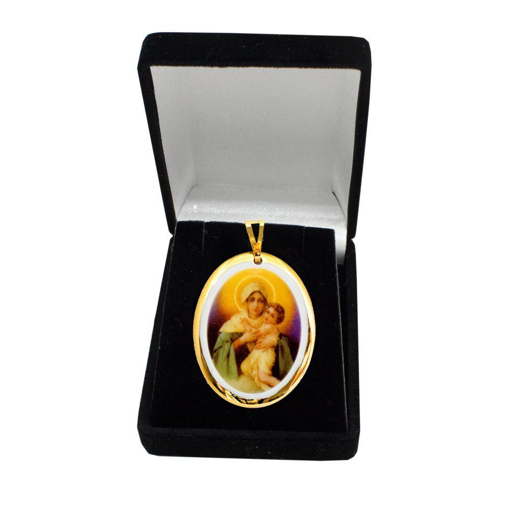 Pingente Medalha Nossa Senhora De Schoenstatt Mãe Rainha Ouro
