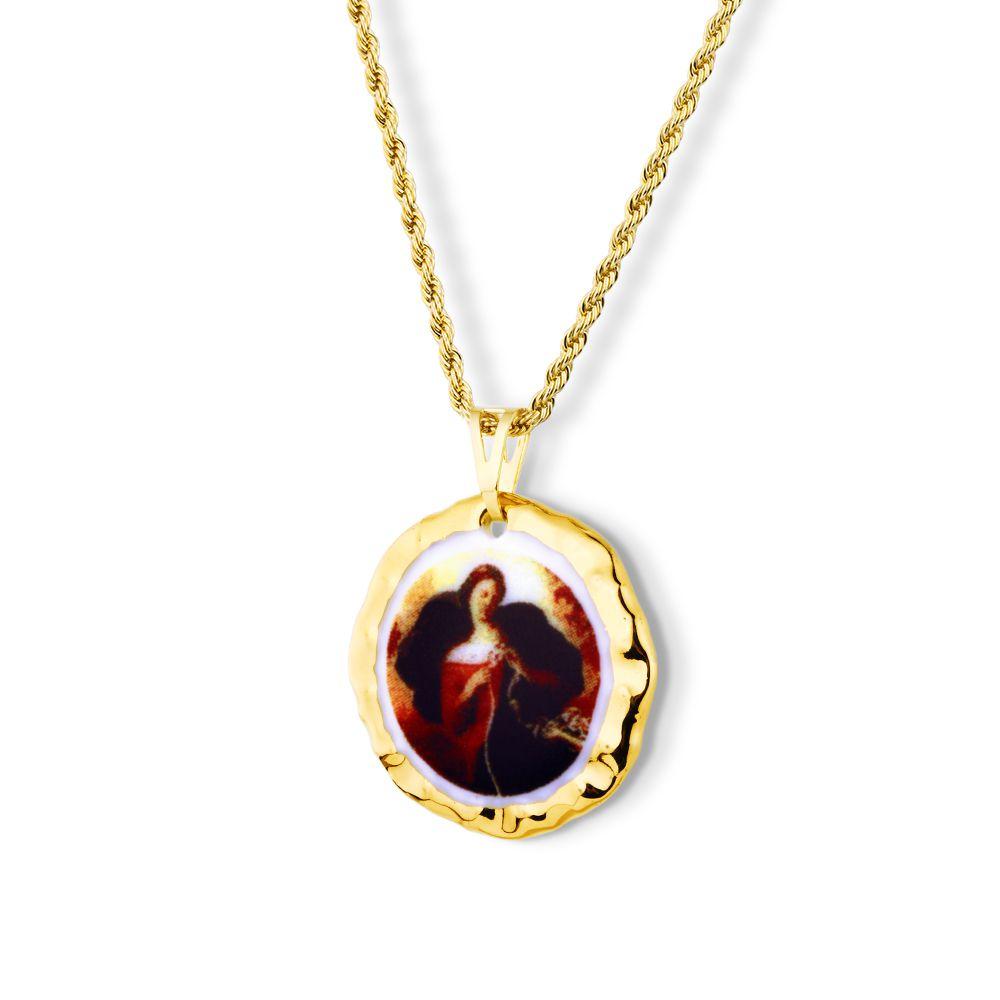 Pingente Medalha Nossa Senhora Desatadora de Nos Ouro Pequena