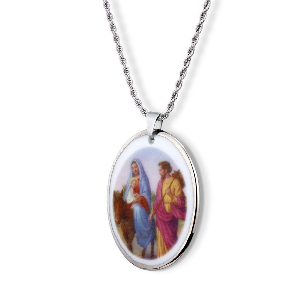 Pingente Medalha Nossa Senhora Desterro OuroBranco 18k