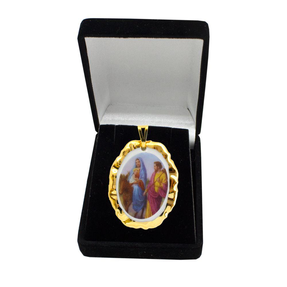 Pingente Medalha Nossa Senhora Do Desterro Ouro
