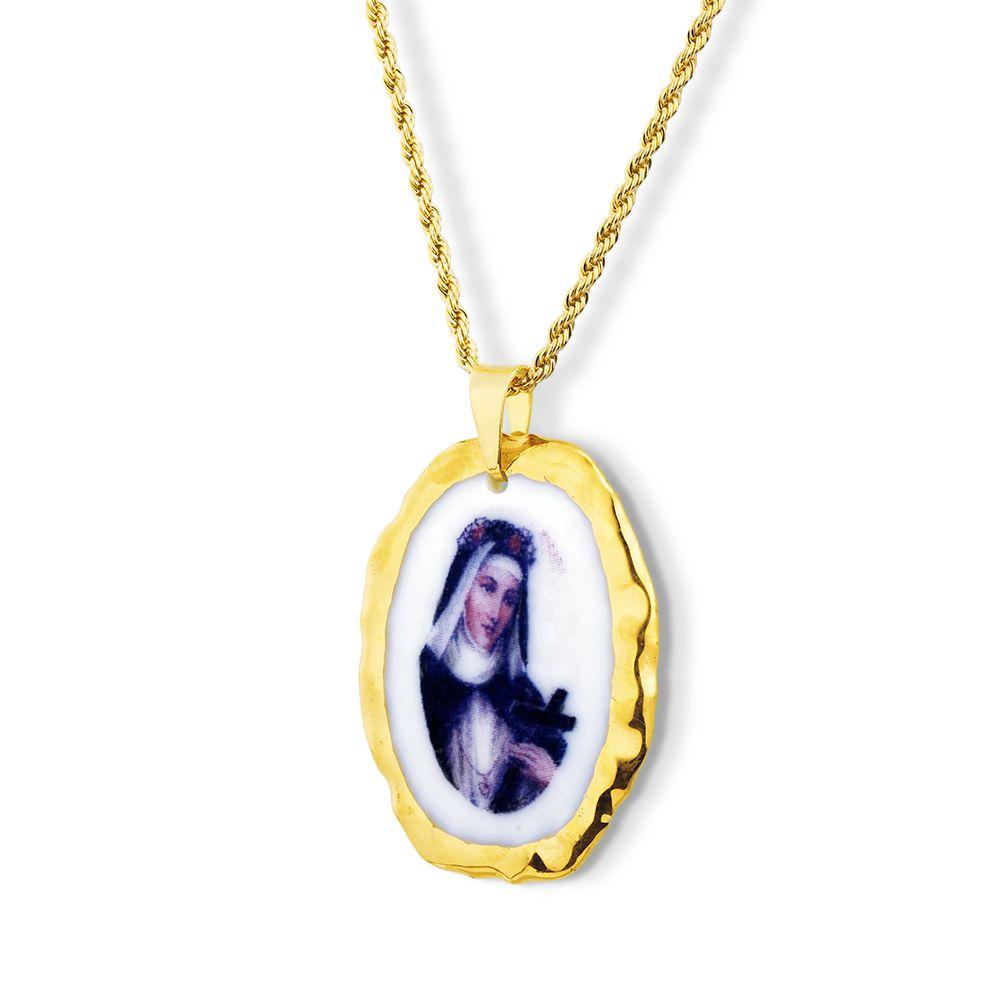 Pingente Medalha  Nossa Senhora do Salete Ouro