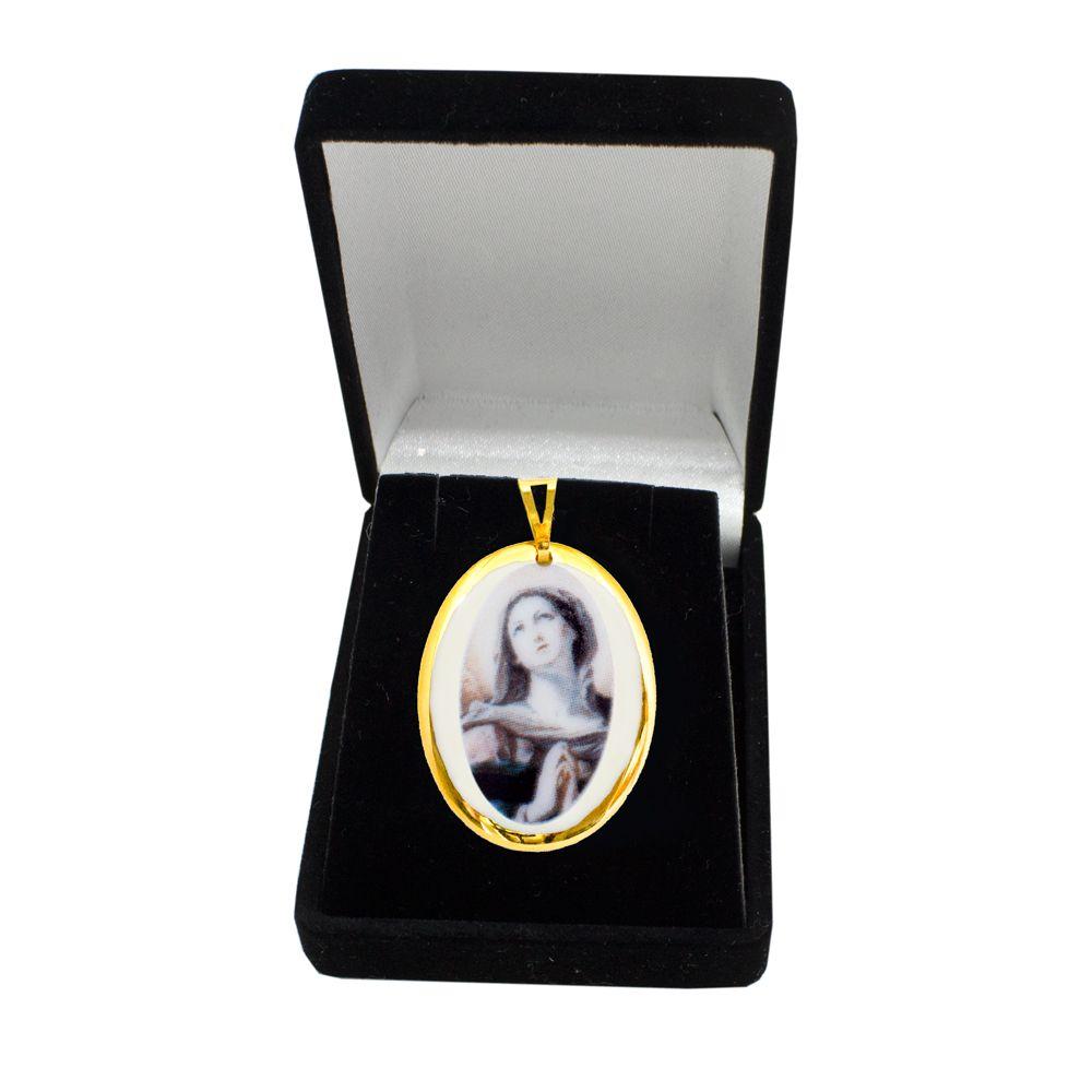 Pingente Medalha Nossa Senhora Dores Ouro pequena