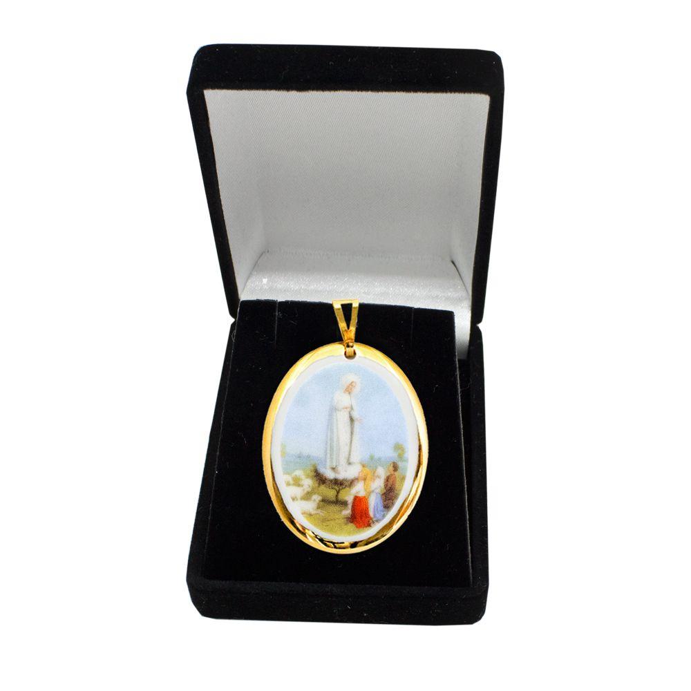 Pingente Medalha Nossa Senhora Fátima e Pastorinhos Ouro