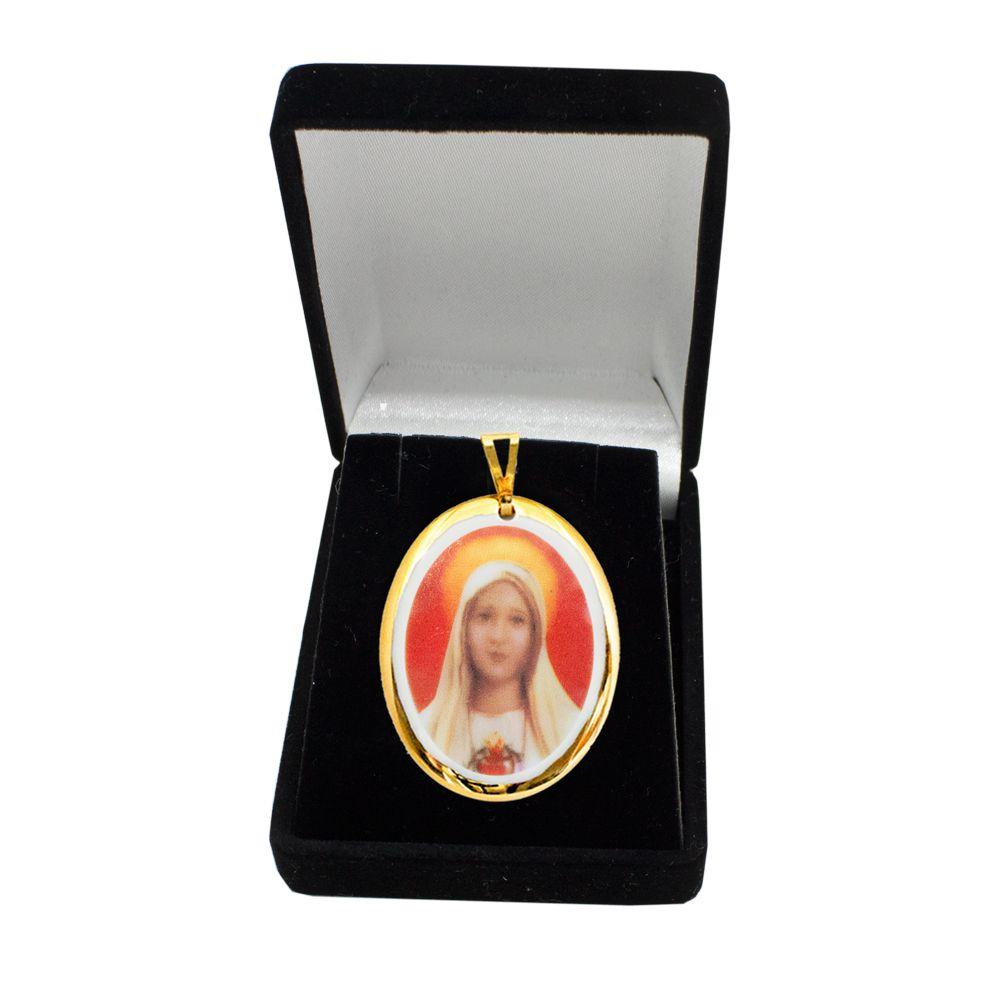 Pingente Medalha Nossa Senhora Fatima Ouro