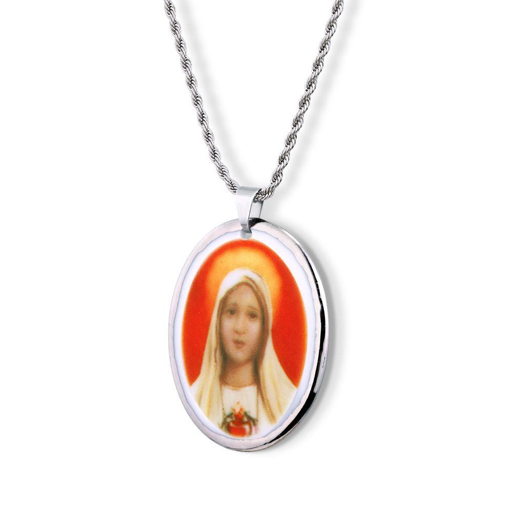 Pingente Medalha Nossa Senhora Fátima Ouro Branco 18k