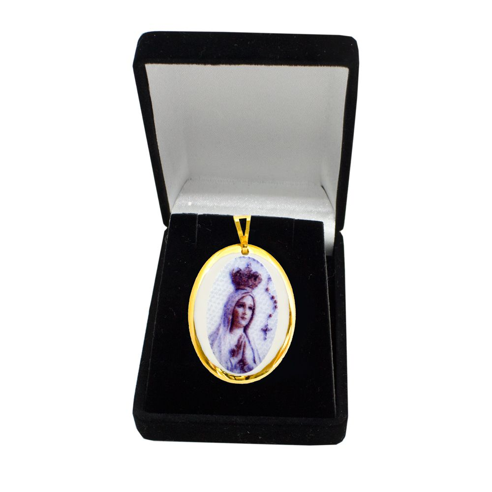 Pingente Medalha Nossa Senhora Fátima Ouro pequena