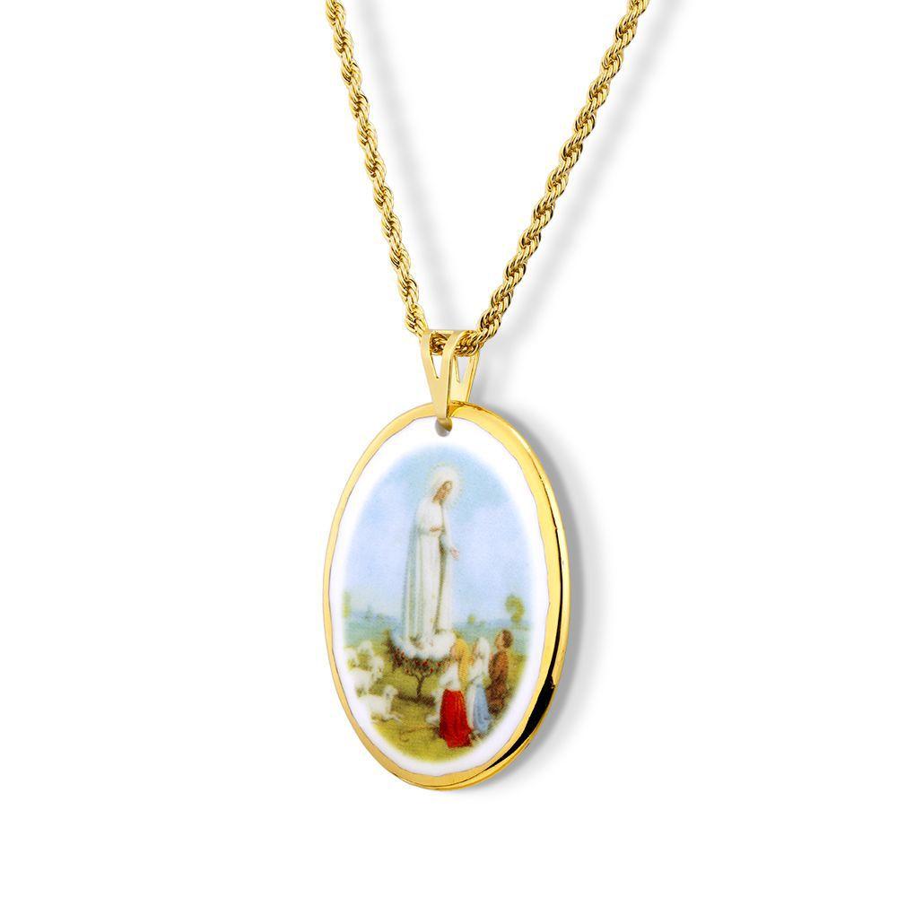 Pingente Medalha Nossa Senhora Fátima Pastorinhos Ouro