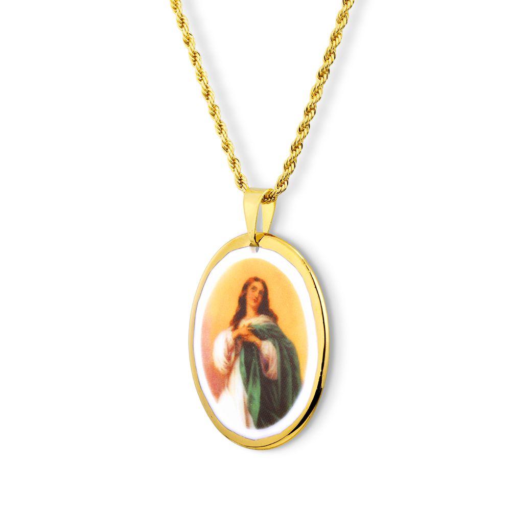 Pingente Medalha Nossa Senhora Imaculada Conceição Ouro