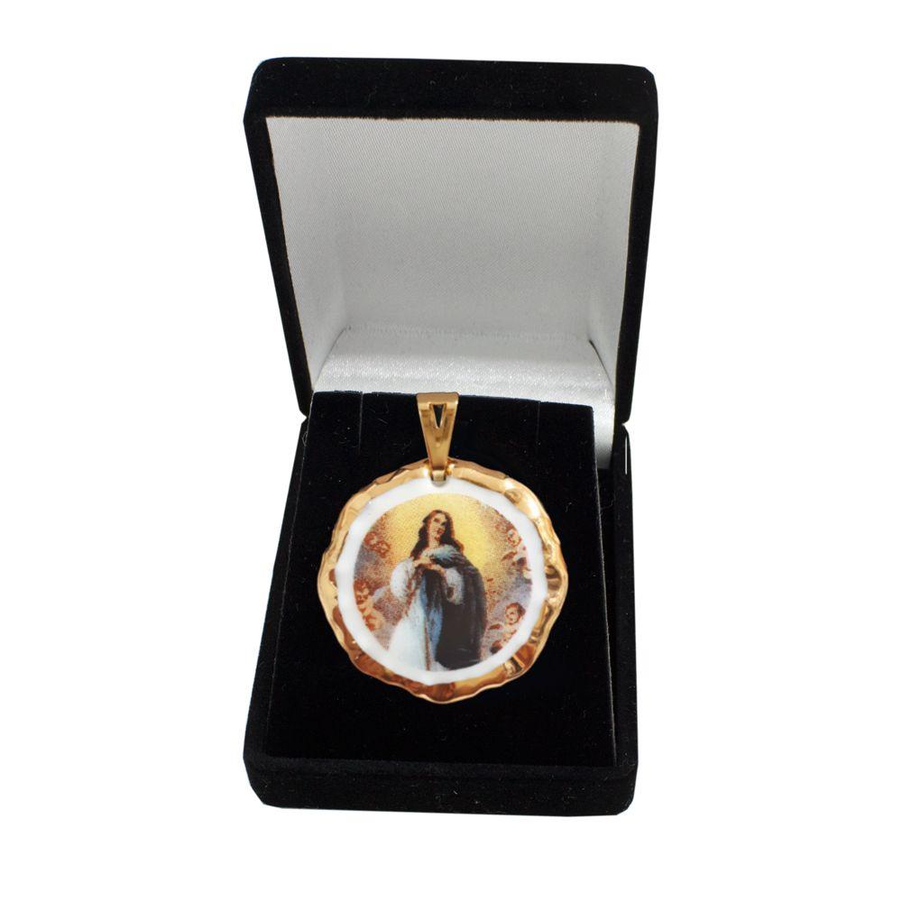 Pingente Medalha Nossa Senhora Imaculada Conceição Ouro Pequena
