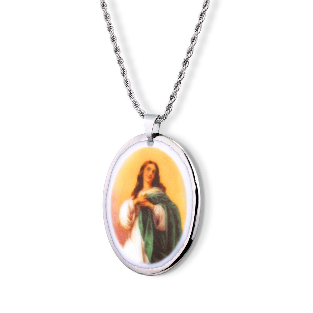 Pingente Medalha Nossa Senhora Imaculada Conceição Ouro Branco 18k