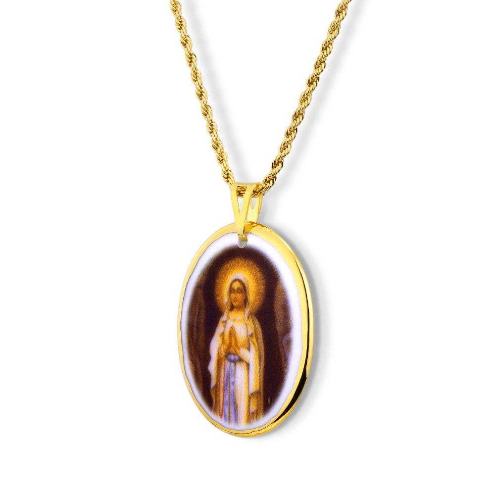 Pingente Medalha Nossa Senhora Lourdes Ouro