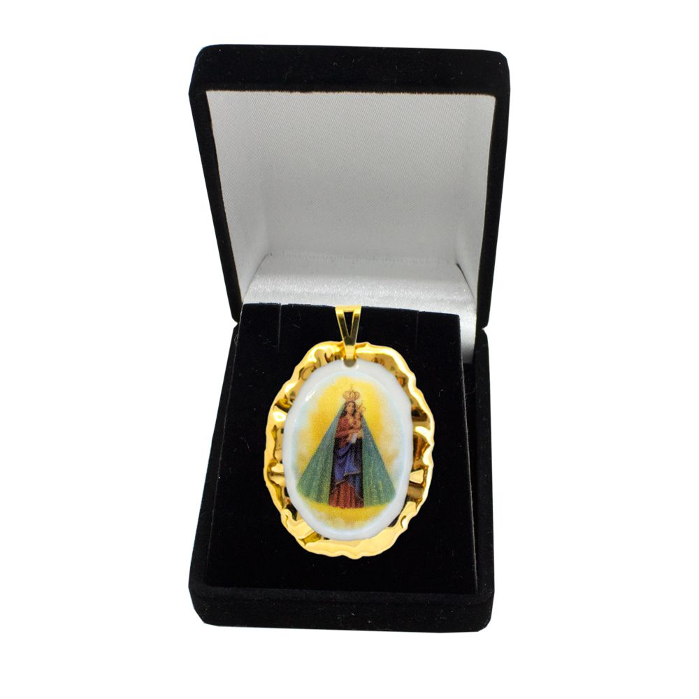 Pingente Medalha Nossa Senhora Nazaré Ouro