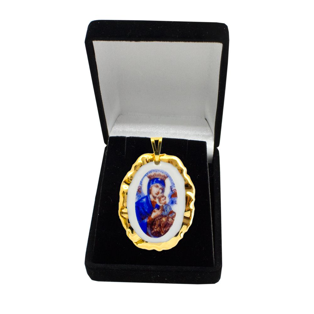 Pingente Medalha Nossa Senhora Perpétuo Socorro Ouro