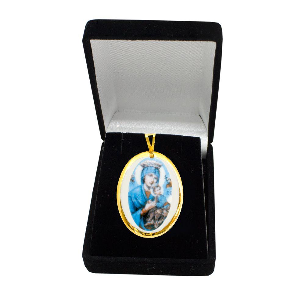 Pingente Medalha Nossa Senhora Pérpetuo Socorro Ouro Pequena