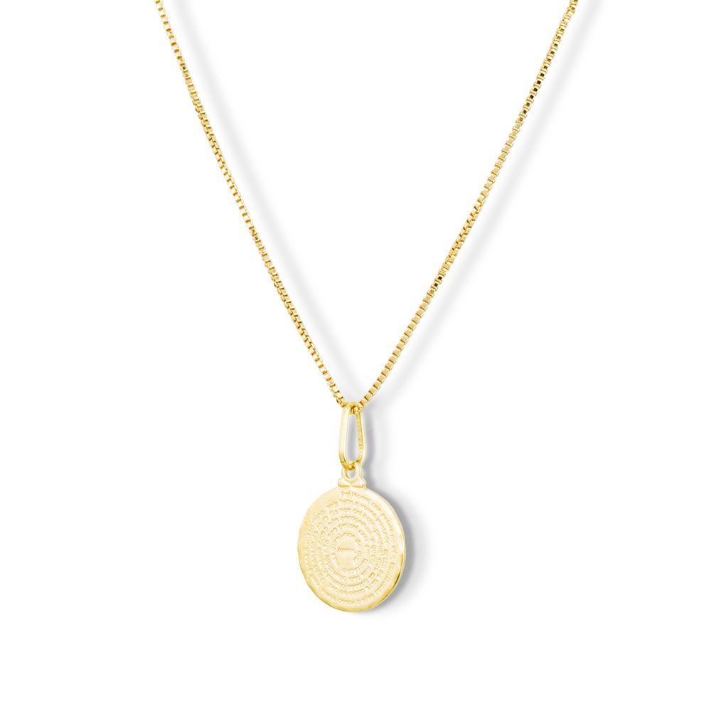 Pingente Medalha Pai Nosso Banhada Ouro 18k