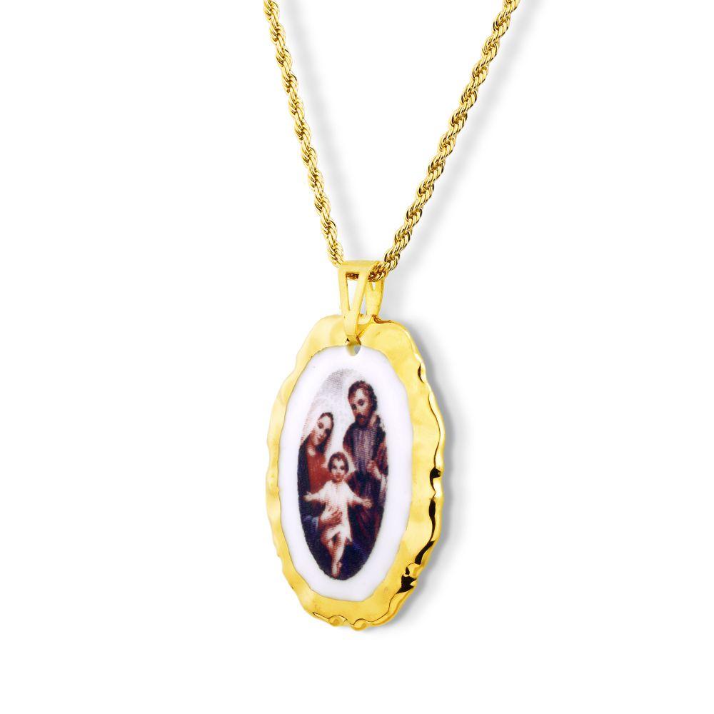 Pingente Medalha Sagrada Família Ouro