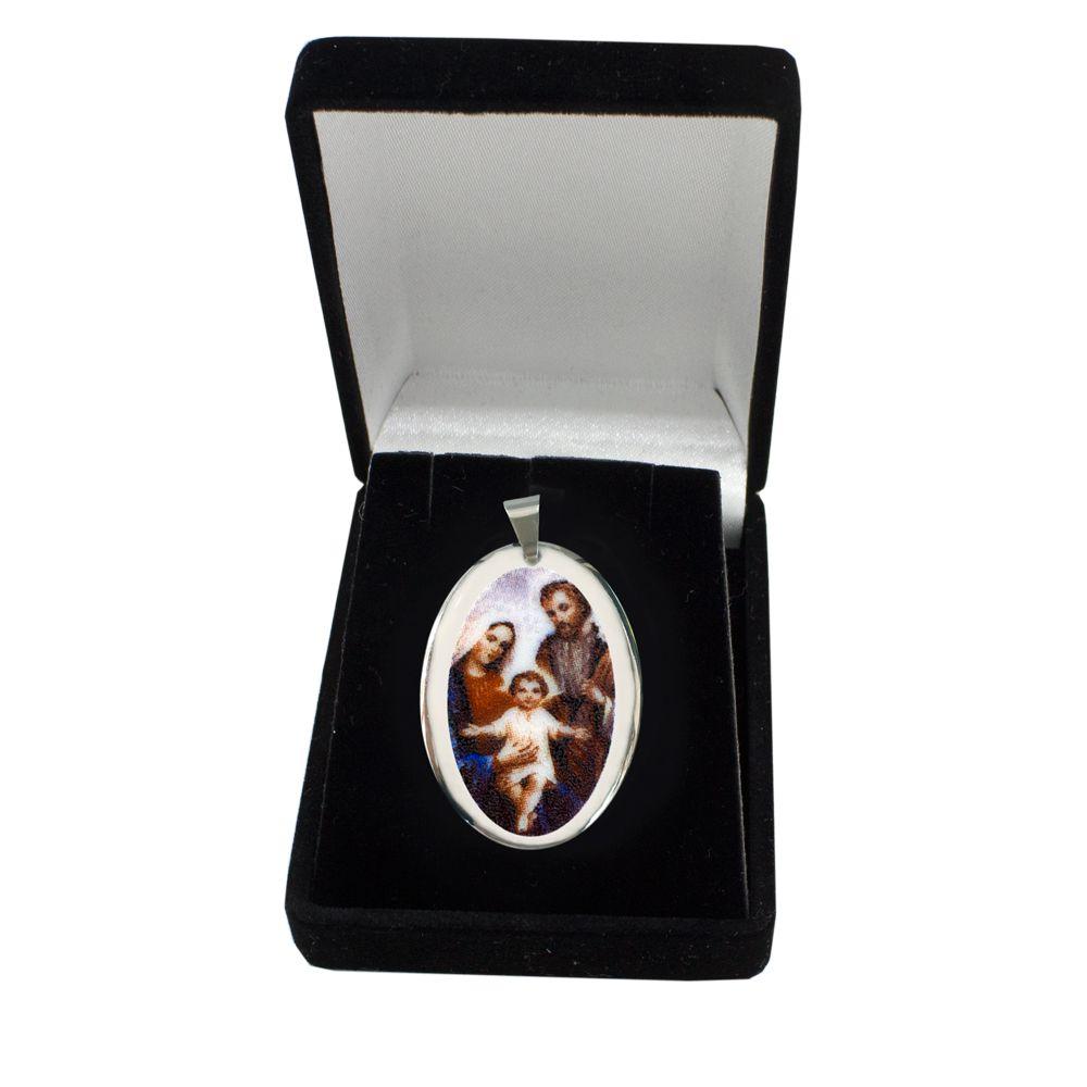 Pingente Medalha Sagrada Família Ouro Branco Pequena