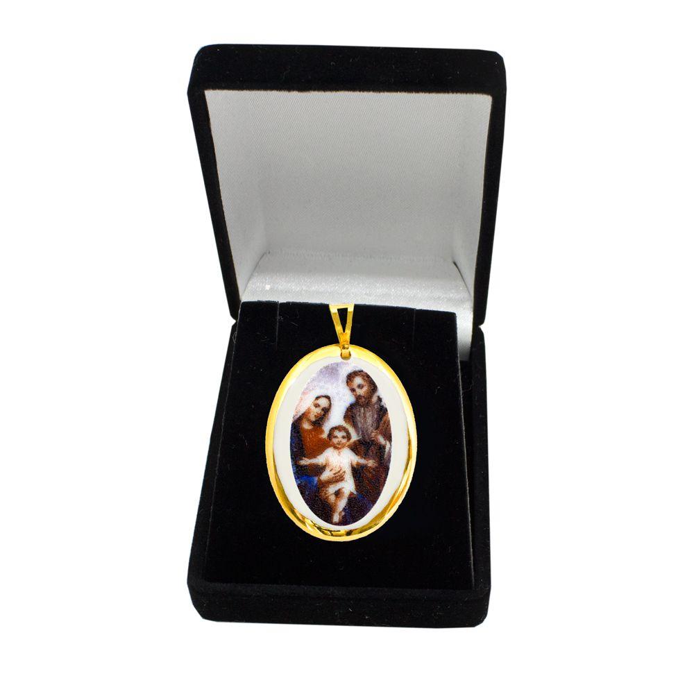 Pingente Medalha Sagrada Família Ouro Pequena