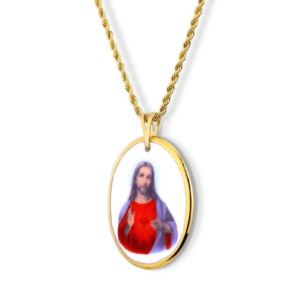 Pingente Medalha Sagrado Coração De Jesus Ouro