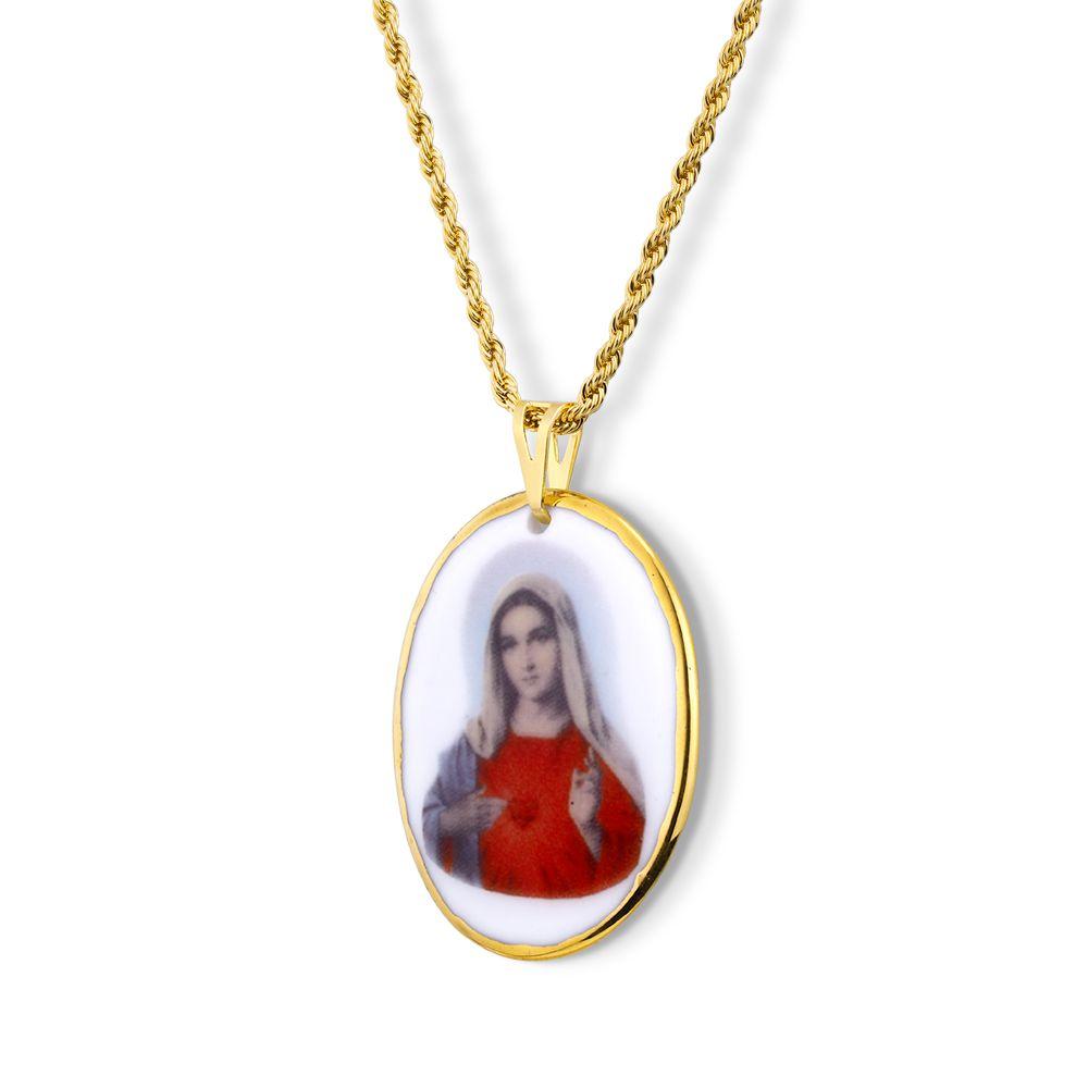 Pingente Medalha Sagrado Coração de Maria ouro