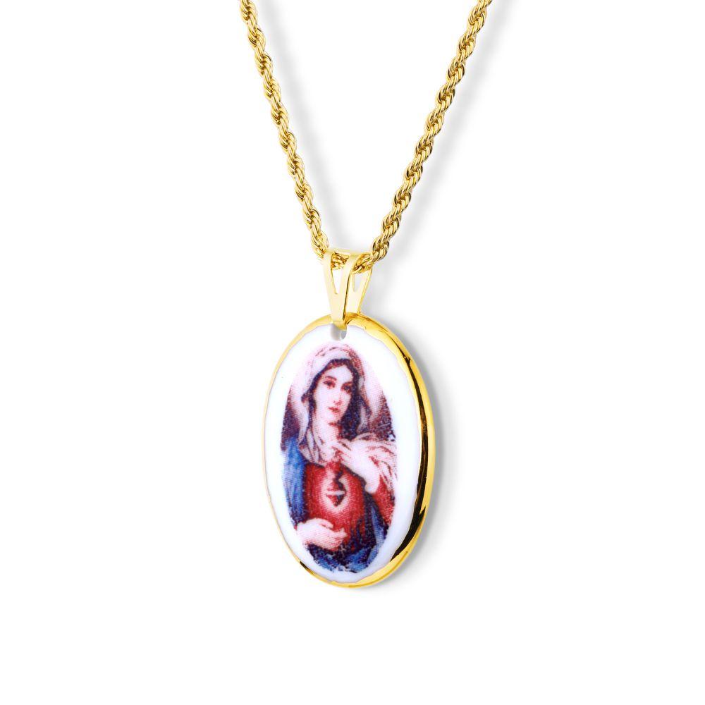 Pingente Medalha Sagrado Coração Maria Ouro Pequena
