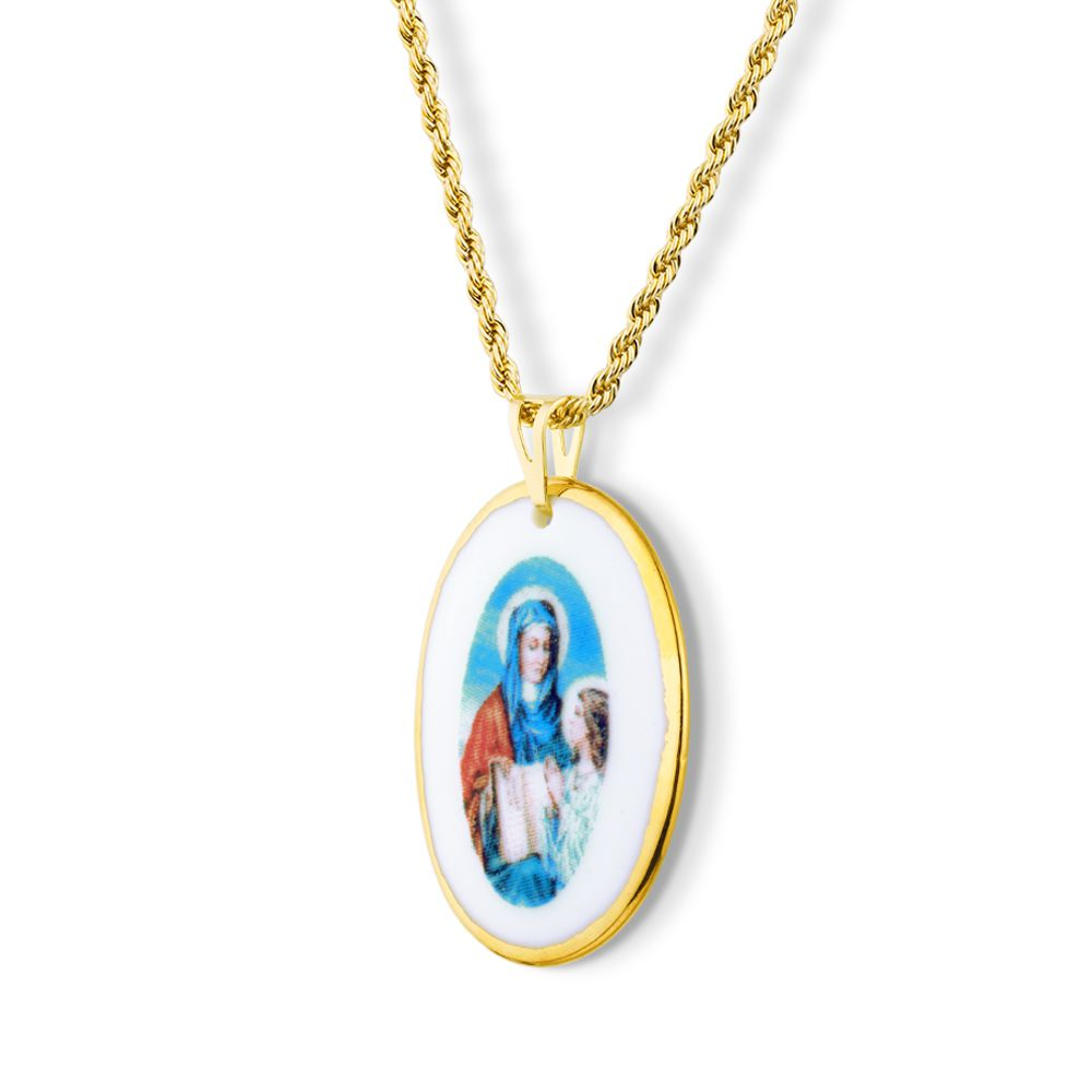 Pingente Medalha Santa Ana Ouro