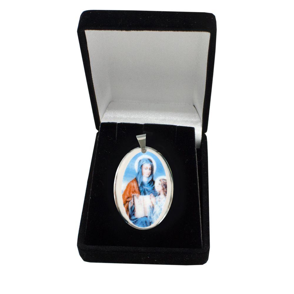 Pingente Medalha Santa Ana Ouro Branco Pequena