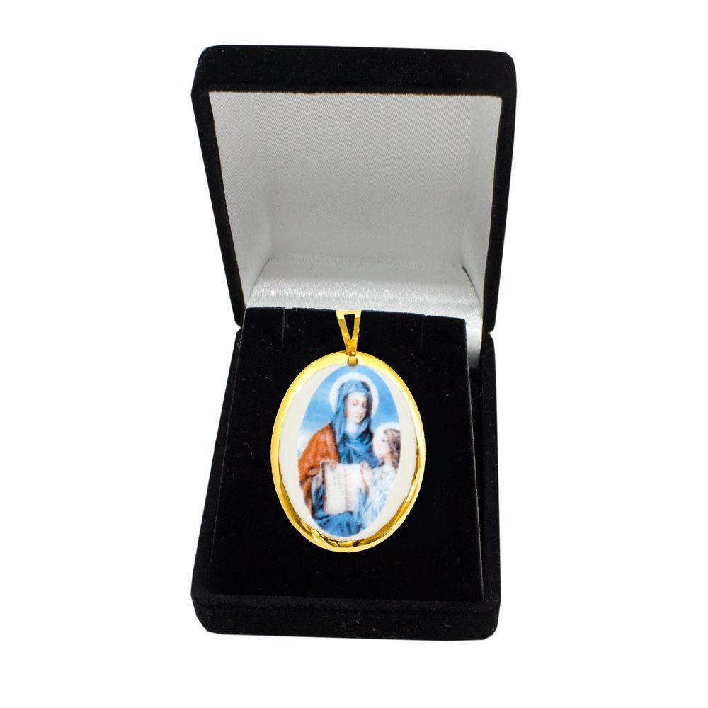 Pingente Medalha Santa Ana Ouro pequena