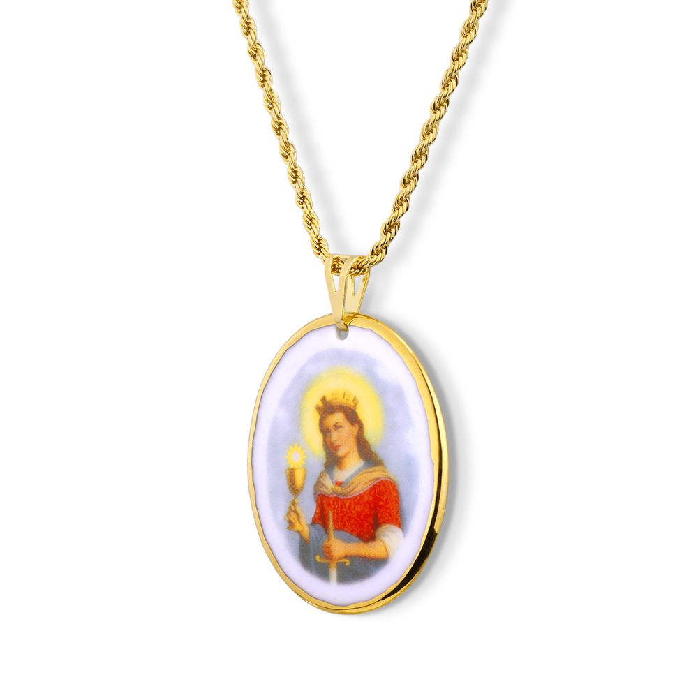 Pingente Medalha Santa Bárbara Ouro