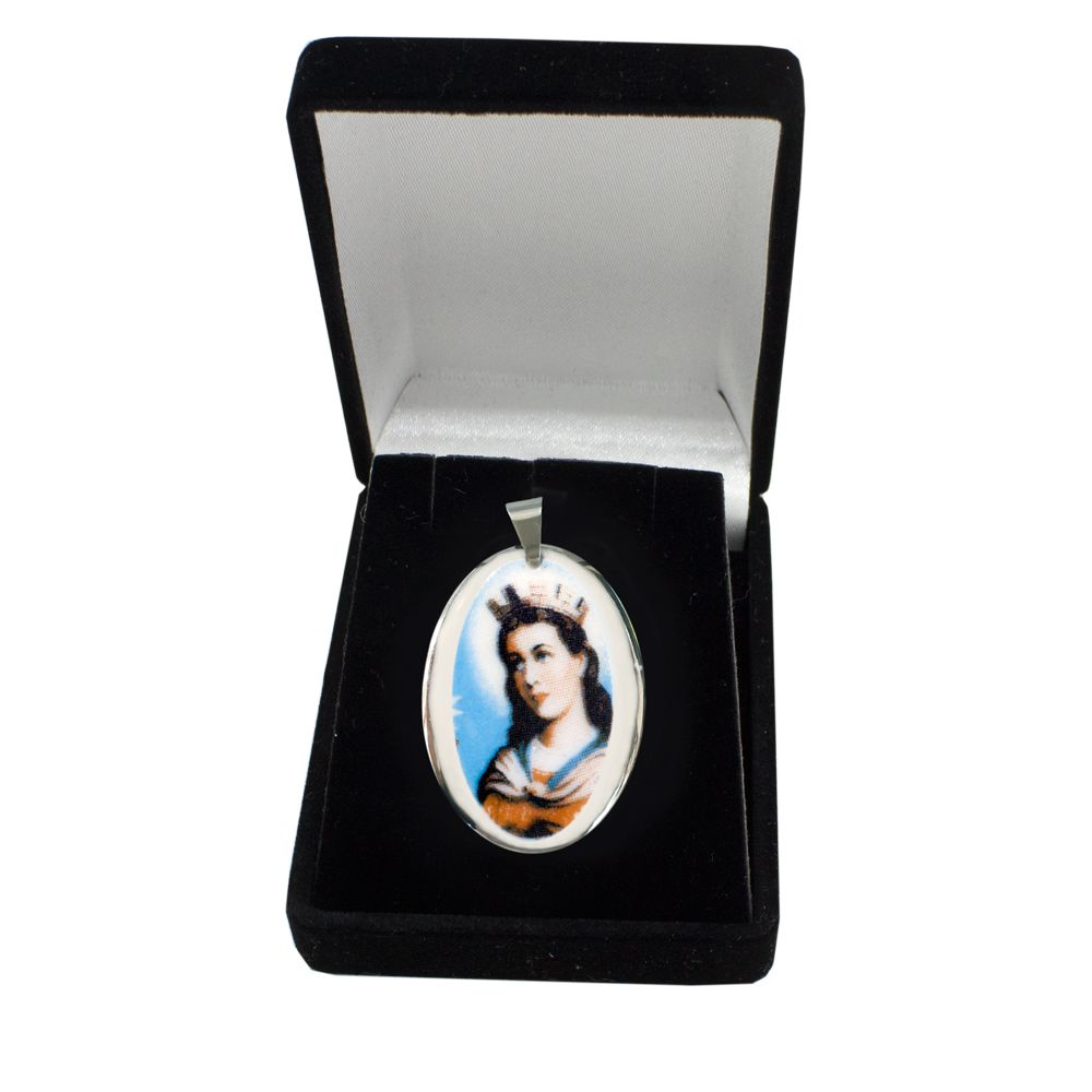 Pingente Medalha Santa Bárbara Ouro Branco Pequena