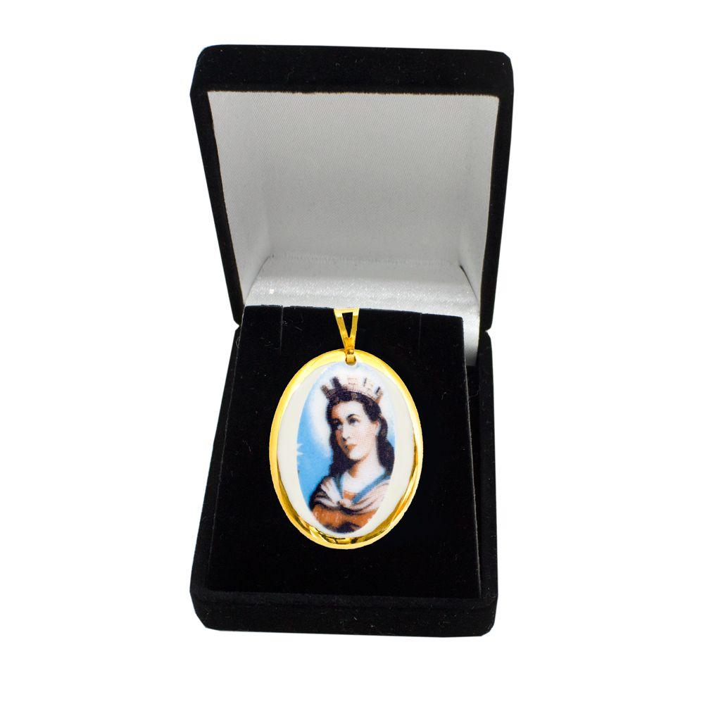 Pingente Medalha Santa Bárbara Ouro Pequena